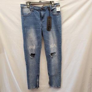 Mens Rue21 Black Premium Distressed Blue Jeans New